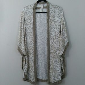 Cheetah Print Kimono With Embroidered Lace Sz L/XL